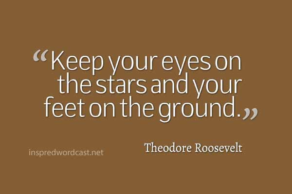 """Keep your eyes on the stars and your feet on the ground."" - Theodore Roosevelt"
