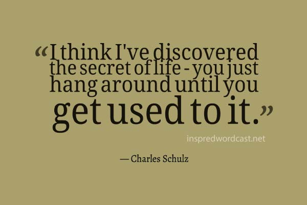 I think I've discovered the secret of life - you just hang around until you get used to it. - Charles Schulz